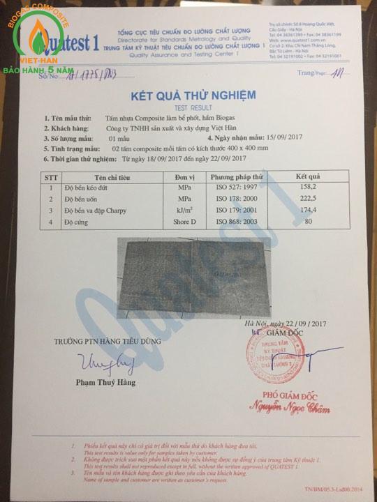 kết quả ISO Bể Phốt Composite Việt Hàn tại Tổng Cục Tiêu Chuẩn Đo Lường Chất Lượng Việt Nam